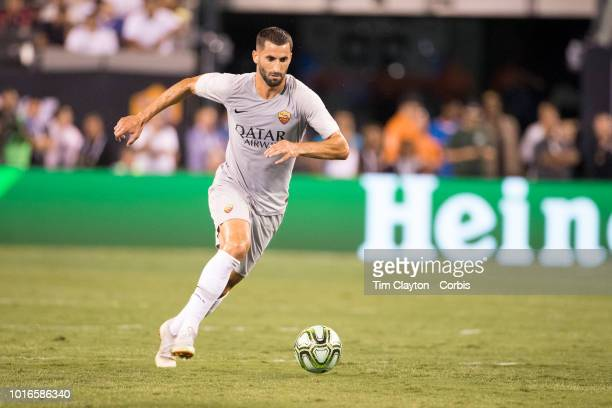 Maxime Gonalons of AS Roma in action during the Real Madrid vs AS Roma International Champions Cup match at MetLife Stadium on August 7 2018 in...
