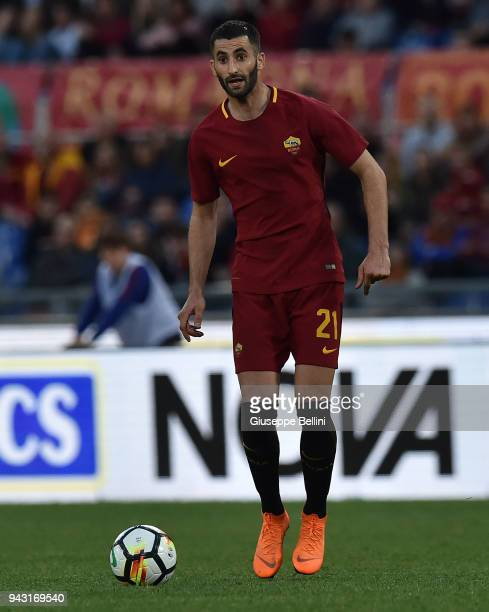 Maxime Gonalons of AS Roma in action during the serie A match between AS Roma and ACF Fiorentina at Stadio Olimpico on April 7 2018 in Rome Italy
