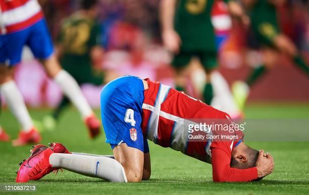 Maxime Gonalons of Granada reacts during the Copa del Rey Semi Final second leg match between Granada CF and Athletic Club at Nuevo Los Carmenes on...