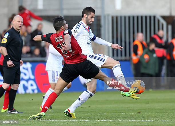 Maxime Gonalons of Lyon in action during the french Ligue 1 match between EA Guingamp FC and Olympique Lyonnais OL at Stade de Roudourou on March 23...
