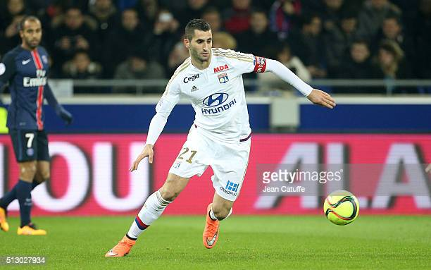 Maxime Gonalons of Lyon in action during the French Ligue 1 match between Olympique Lyonnais and Paris SaintGermain at Parc Olympique Lyonnais...