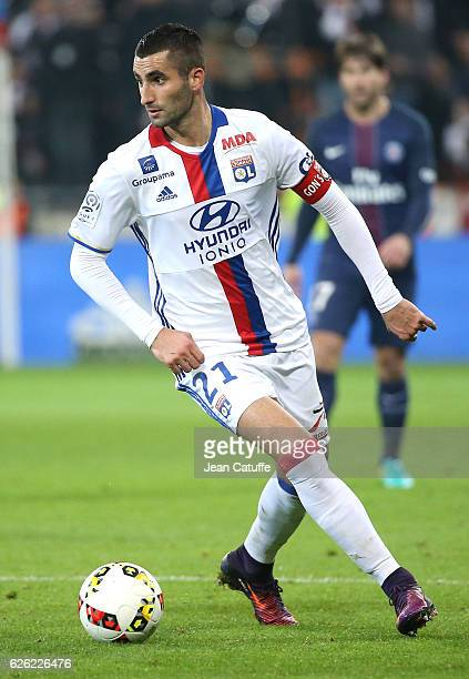 Maxime Gonalons of Lyon in action during the French Ligue 1 match between Olympique Lyonnais and Paris SaintGermain at Parc OL stadium on November 27...
