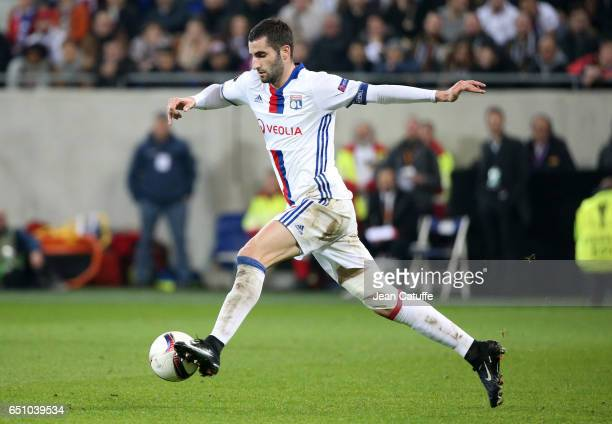 Maxime Gonalons of Lyon in action during the UEFA Europa League Round of 16 first leg match between Olympique Lyonnais and AS Roma at Parc OL on...