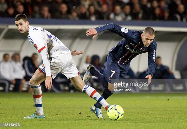 Maxime Gonalons of Olympique Lyonnais and Jeremy Menez of Paris SaintGermain FC during the French Ligue 1 between Paris SaintGermain FC and Lyon...