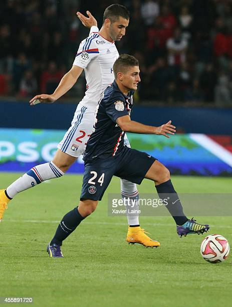 Maxime Gonalons of Olympique Lyonnais and Marco Verratti of Paris SaintGermain during the French Ligue 1 between Paris SaintGermain FC and Olympique...