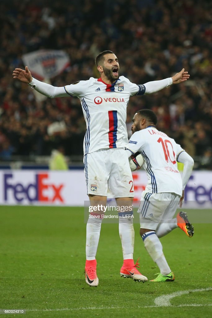 Maxime Gonalons of Olympique Lyonnais Lyon celebrates after Alexandre Lacazette scores a 2nd goal during the Uefa Europa League, semi final second leg match, between Olympique Lyonnais Lyon and Ajax Amsterdam at Parc Olympique on May 11, 2017 in Lyon, France.