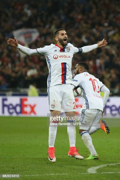 Maxime Gonalons of Olympique Lyonnais Lyon celebrates after Alexandre Lacazette scores a 2nd goal during the Uefa Europa League semi final second leg...