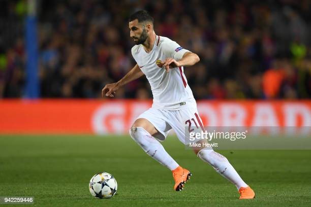 Maxime Gonalons of Roma in action during the UEFA Champions League Quarter Final Leg One between FC Barcelona and AS Roma at Camp Nou on April 4 2018...