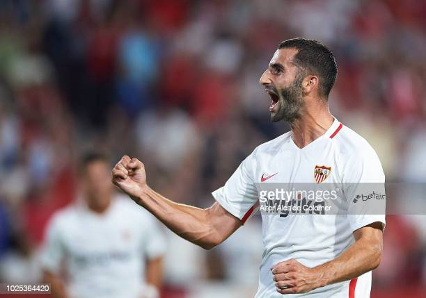 Maxime Gonalons of Sevilla FC celebrates after scoring during the UEFA Europa League Play Off Second Leg match between Sevilla and Sigma Olomuc at...