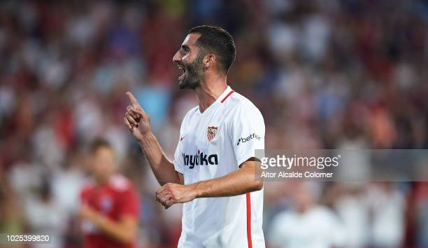 Maxime Gonalons of Sevilla FC celebrates after scoring the first goal of his team during the UEFA Europa League Play Off Second Leg match between...