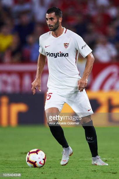 Maxime Gonalons of Sevilla FC in action during the UEFA Europa League Play Off Second Leg match between Sevilla and Sigma Olomuc at Ramon Sanchez...