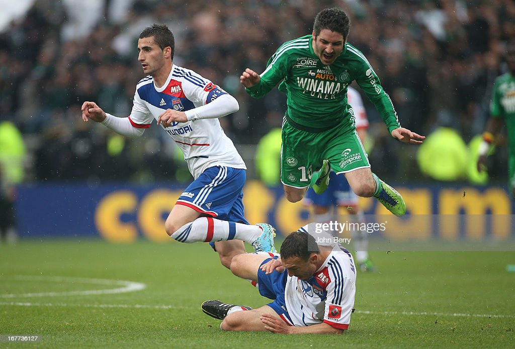 Maxime Gonalons, Steed Malbranque of Lyon and Fabien Lemoine of Saint-Etienne in action during the Ligue 1 match between Olympique Lyonnais, OL, and AS Saint-Etienne, ASSE, at the Stade Gerland on April 28, 2013 in Lyon, France.