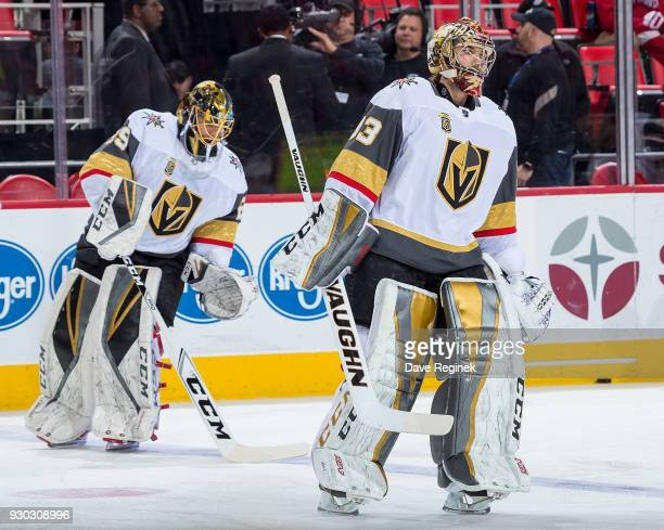Maxime Lagace and MarcAndre Fleury of the Vegas Golden Knights skate in warmups prior to an NHL game against the Detroit Red Wings at Little Caesars...