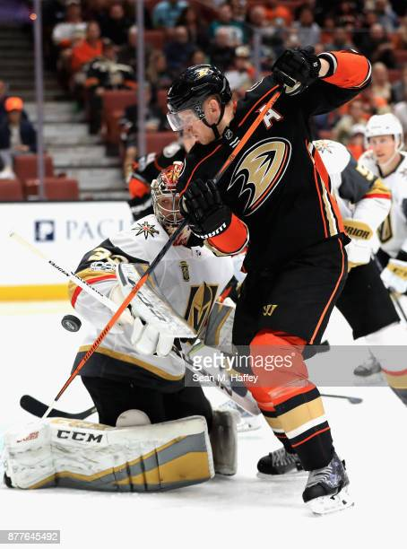 Maxime Lagace of the Vegas Golden Knights blocks a shot by Corey Perry of the Anaheim Ducks during the third period of a game at Honda Center on...