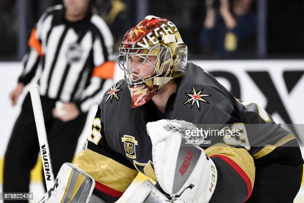 Maxime Lagace of the Vegas Golden Knights defends his goal against the Los Angeles Kings during the game at TMobile Arena on November 19 2017 in Las...