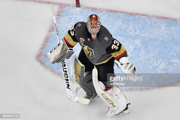 Maxime Lagace of the Vegas Golden Knights defends his goal against the New Jersey Devils during the game at TMobile Arena on March 14 2018 in Las...