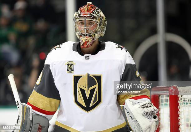 Maxime Lagace of the Vegas Golden Knights in goal against the Dallas Stars in the first period at American Airlines Center on December 9 2017 in...