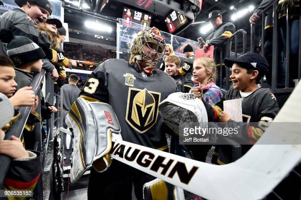 Maxime Lagace of the Vegas Golden Knights is greeted by fans as he walks to the locker room prior to the game against the Ottawa Senators at TMobile...