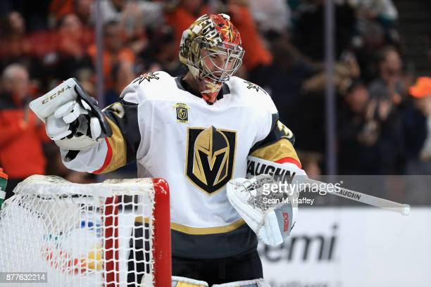 Maxime Lagace of the Vegas Golden Knights looks on after Josh Manson of the Anaheim Ducks scored a goal during the first period of a game at Honda...