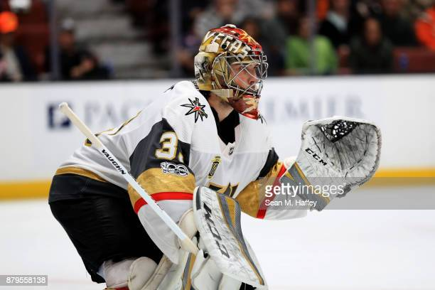 Maxime Lagace of the Vegas Golden Knights looks on during the third period of a game against the Anaheim Ducks at Honda Center on November 22 2017 in...