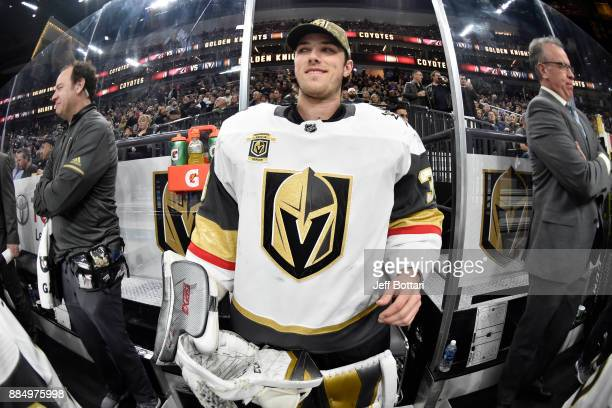 Maxime Lagace of the Vegas Golden Knights makes his way to the bench prior to the game against the Arizona Coyotes at TMobile Arena on December 3...