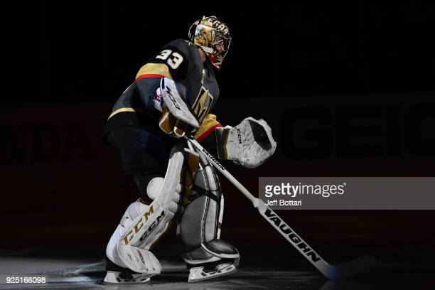 Maxime Lagace of the Vegas Golden Knights skates onto the ice prior to the game against the Los Angeles Kings at TMobile Arena on February 27 2018 in...