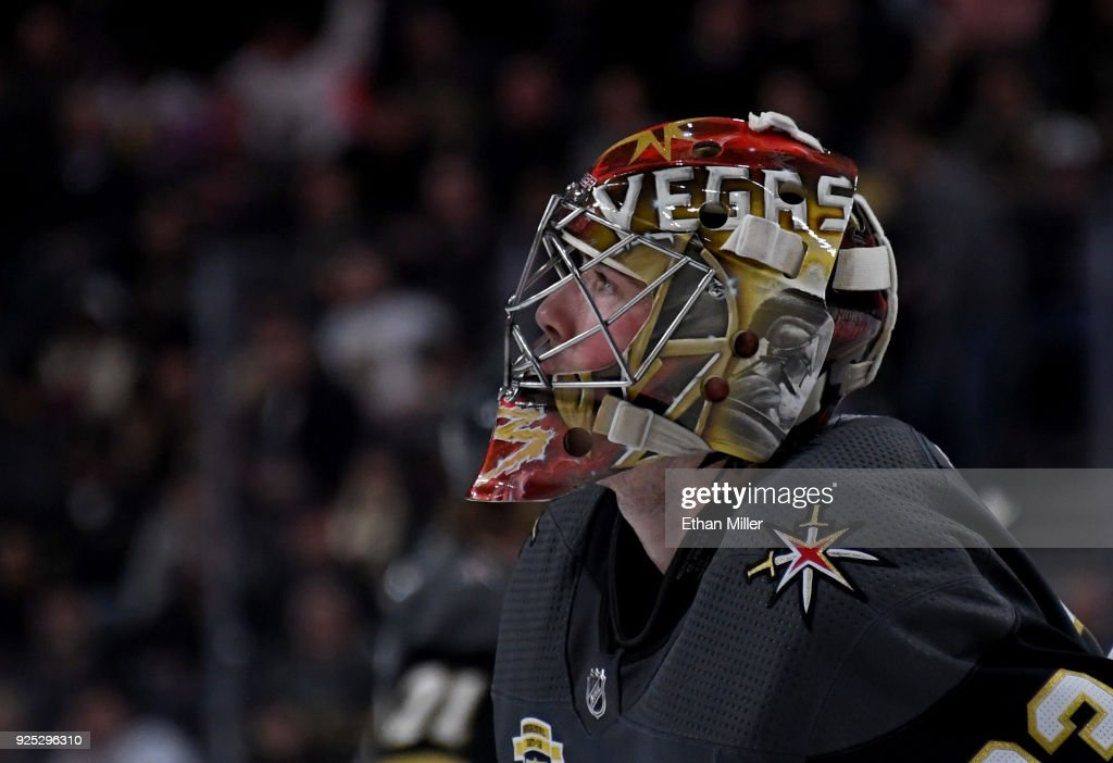 Maxime Lagace #33 of the Vegas Golden Knights takes a break during a stop in play in the third period of a game against the Los Angeles Kings at T-Mobile Arena on February 27, 2018 in Las Vegas, Nevada. The Kings won 4-1.