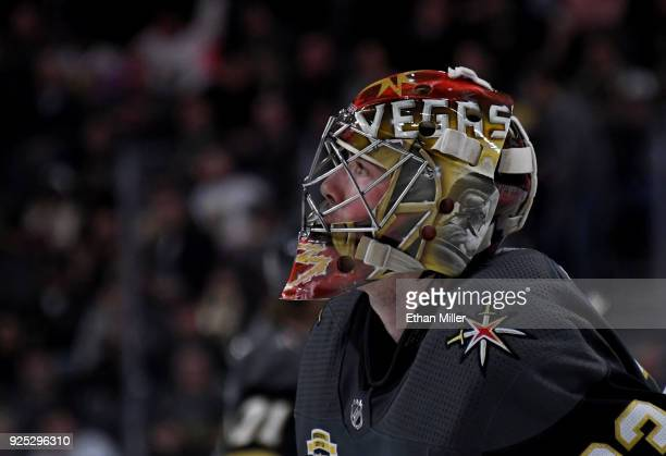 Maxime Lagace of the Vegas Golden Knights takes a break during a stop in play in the third period of a game against the Los Angeles Kings at TMobile...