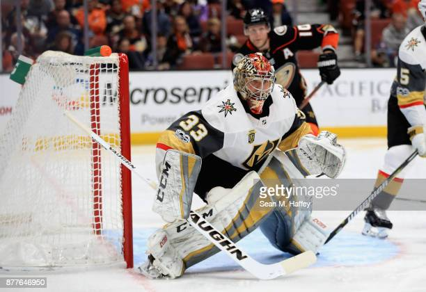 Maxime Lagace of the Vegas Golden Knights tends goal during the third period of a game against the Anaheim Ducks at Honda Center on November 22 2017...