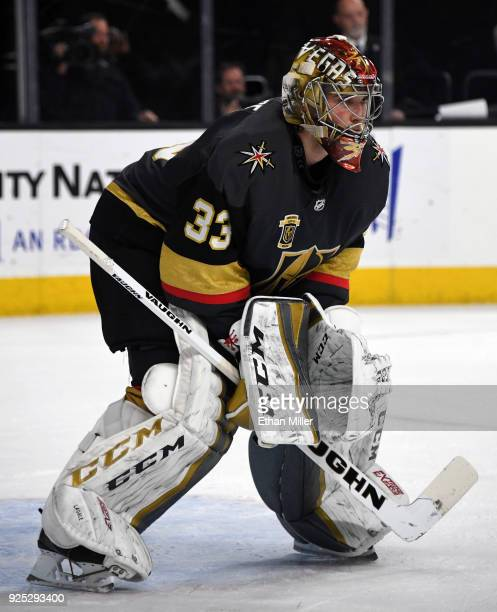 Maxime Lagace of the Vegas Golden Knights tends net against the Los Angeles Kings in the third period of their game at TMobile Arena on February 27...