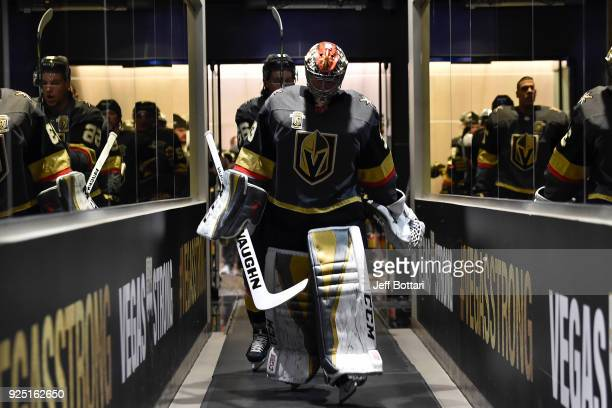 Maxime Lagace of the Vegas Golden Knights walks down the tunnel prior to the game against the Los Angeles Kings at TMobile Arena on February 27 2018...