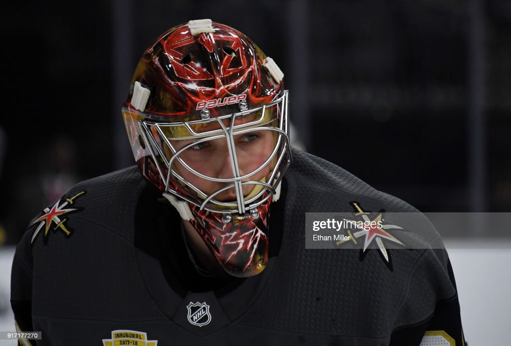Maxime Lagace #33 of the Vegas Golden Knights warms up before a game against the Philadelphia Flyers at T-Mobile Arena on February 11, 2018 in Las Vegas, Nevada. The Flyers won 4-1.