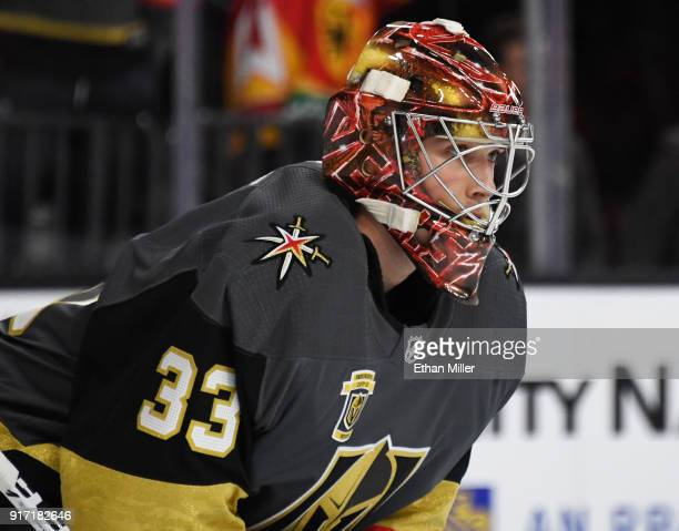 Maxime Lagace of the Vegas Golden Knights warms up before a game against the Philadelphia Flyers at TMobile Arena on February 11 2018 in Las Vegas...