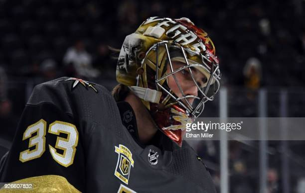 Maxime Lagace of the Vegas Golden Knights warms up before a game against the Ottawa Senators at TMobile Arena on March 2 2018 in Las Vegas Nevada The...
