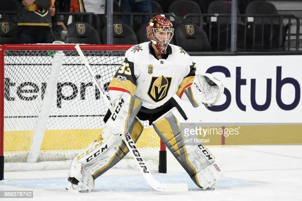 Maxime Lagace of the Vegas Golden Knights warms up prior to the game against the Arizona Coyotes at TMobile Arena on December 3 2017 in Las Vegas...