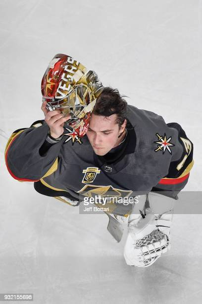 Maxime Lagace prepares to enter the game after replacing teammate MarcAndre Fleury of the Vegas Golden Knights during the game against the New Jersey...