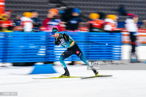 Maxime Laheurte competes during Men's Nordic Combined HS130 2x7.5km Team Sprint at Lahti Ski Games in Lahti, Finland on 9 February 2019.