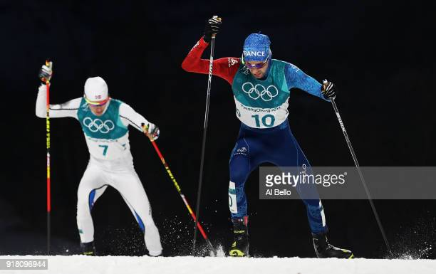 Maxime Laheurte of France and Espen Andersen of Norway compete during the Nordic Combined Individual Gundersen Normal Hill and 10km Cross Country on...