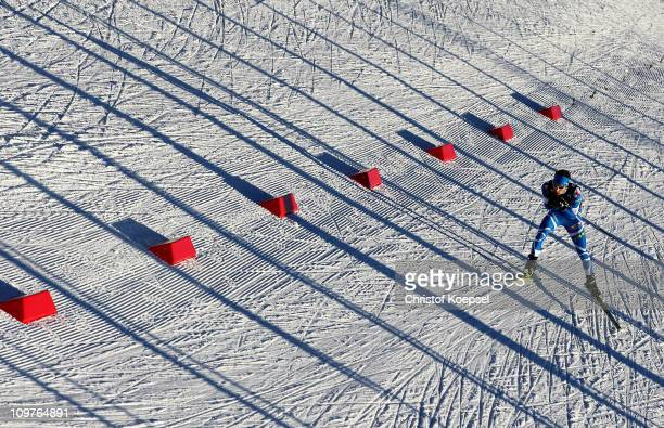 Maxime Laheurte of France competes in the Nordic Combined Team 4x5km race during the FIS Nordic World Ski Championships at Holmenkollen on March 4,...