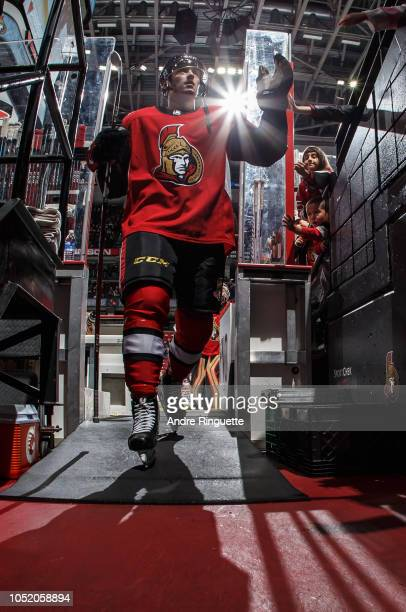 Maxime Lajoie of the Ottawa Senators leaves the ice after warmup prior to a game against the Los Angeles Kings at Canadian Tire Centre on October 13...