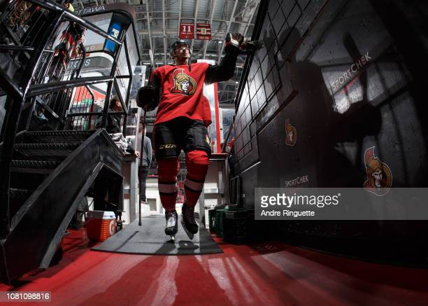 Maxime Lajoie of the Ottawa Senators leaves the ice after warmup prior to a game against the Boston Bruins at Canadian Tire Centre on December 9 2018...
