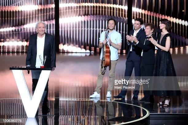 Maxime Le Forestier Vianney Julian Bugier Alain Souchon and Eglantine Emeye attend the 35th 'Les Victoires De La Musique' Show At La Seine Musicale...