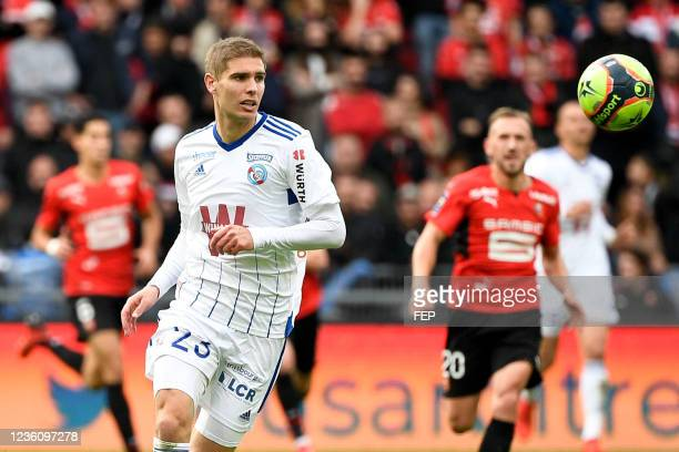 Maxime LE MARCHAND during the Ligue 1 Uber Eats match between Rennes and Strasbourg at Roazhon Park on October 24, 2021 in Rennes, France.