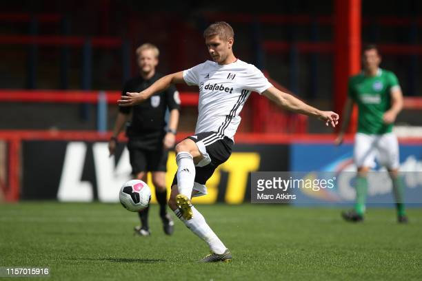 Maxime Le Marchand of Fulham during the PreSeason Friendly match between Brighton and Hove Albion and Fulham at EBB Stadium on July 20 2019 in...