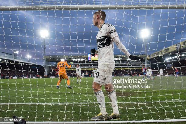 Maxime Le Marchand of Fulham FC reacts after his team concede a 2nd goal during the Premier League match between Crystal Palace and Fulham FC at...