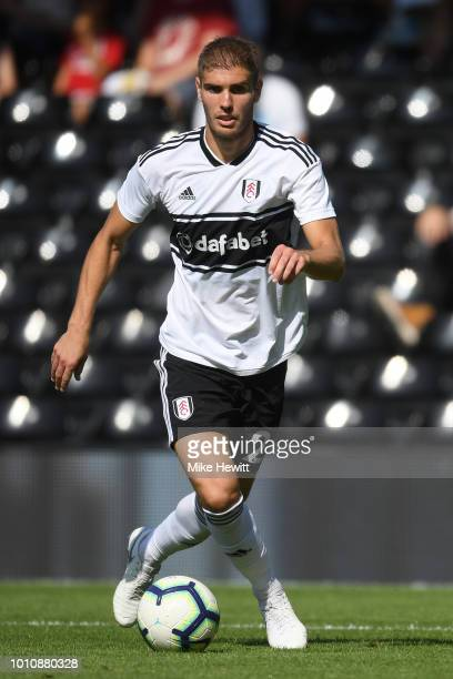 Maxime Le Marchand of Fulham in action during a PreSeason Friendly between Fulham and Celta Vigo at Craven Cottage on August 4 2018 in London England
