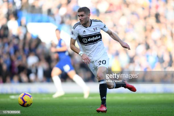 Maxime Le Marchand of Fulham in action during the Premier League match between Chelsea FC and Fulham FC at Stamford Bridge on December 02 2018 in...