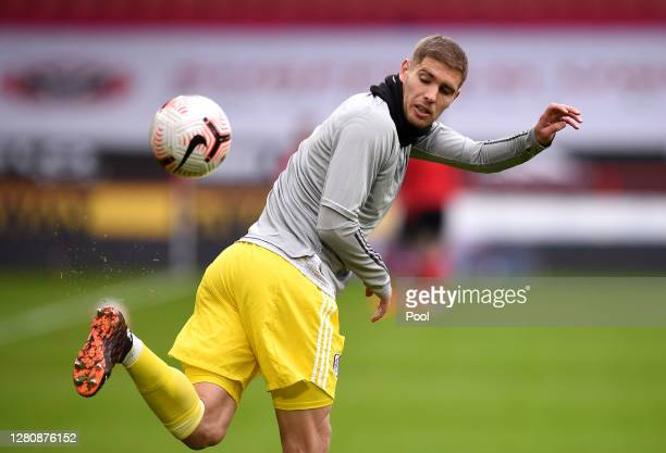 Maxime Le Marchand of Fulham warms up prior to the Premier League match between Sheffield United and Fulham at Bramall Lane on October 18, 2020 in...