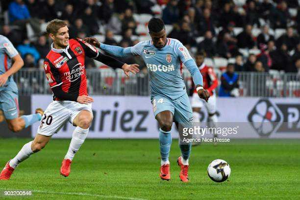 Maxime Le Marchand of Nice and Keita Balde of Monaco during the League Cup match between Nice and Monaco at Allianz Riviera Stadium on January 9 2018...