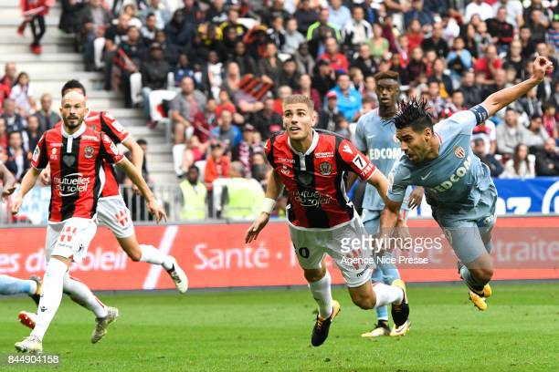 Maxime Le Marchand of Nice and Radamel Falcao of Monaco during the Ligue 1 match between OGC Nice and AS Monaco at Allianz Riviera on September 9...